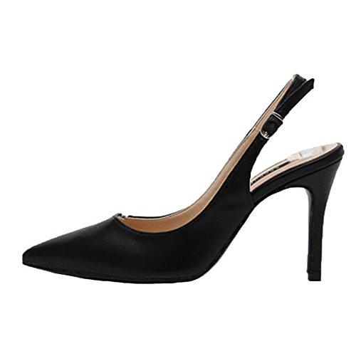 Stiletto Hembra Baja Tacones 34 Zapatos Profesional Altos Boca Sandalias Negro Negro con Acentuados Trabajo RBB dqn7EYd