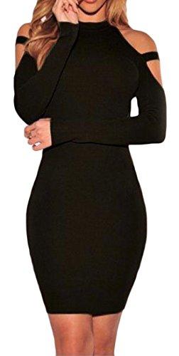 Les Femmes Cromoncent Épaule Froid Sexy Manches Longues Mini Robe Moulante Club De Noir