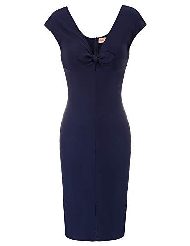Plus Size Women's 1950s Vintage Short Sleeve Pencil Dress Navy Blue Size XL, Navy Blue(BP875)