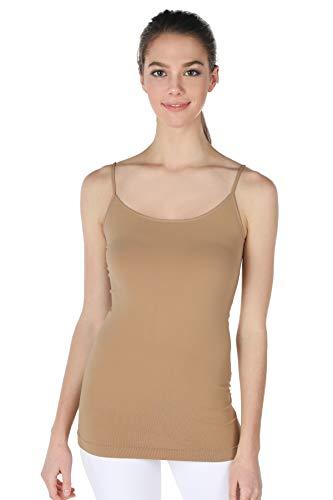 NIKIBIKI Women Seamless Premium Classic Camisole, Made in U.S.A, One Size (Suntan)
