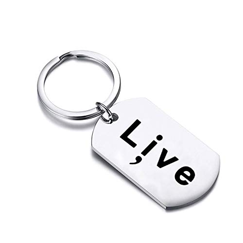 Live Semicolon Keychain Dog Tags Pendant Mental Health Awareness Keychain Gifts (Live Keychain) ()