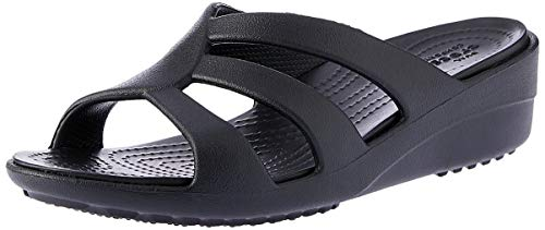 crocs Women's Sanrah Strappy Wedge Sandal, Black, 7 M US