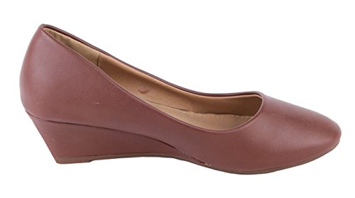 SHU CRAZY Womens Ladies Faux Leather Slip On Low Heel Wedge Mary Jane Pumps Court Shoes - P39 Brown B2eW4YxbN