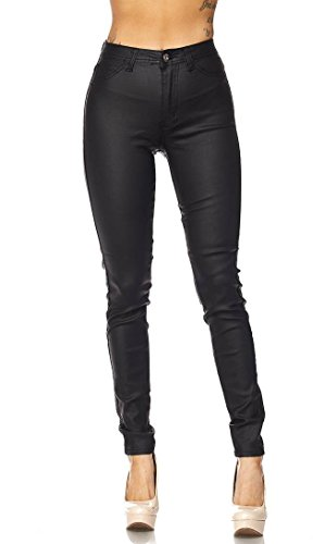 Super High Waisted Stretchy Skinny Jeans in Faux Leather (S-XL) Black (Soho Black Leather)