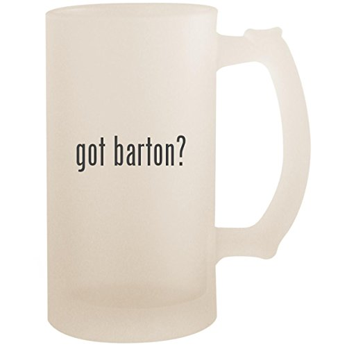 (got barton? - 16oz Glass Frosted Beer Stein Mug, Frosted)