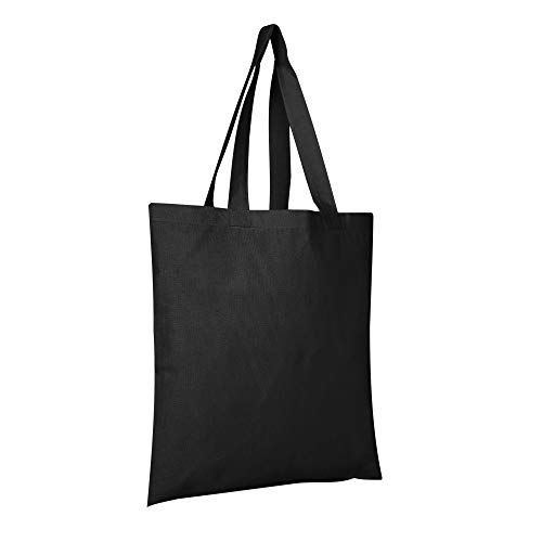 BagzDepot 12 Pack Durable Cotton Canvas Reusable Blank 15inch x 16inch Standard Size Grocery Plain Tote Bags with 21 inches Supportive Fabric Handles No Bottom Gusset - Black]()