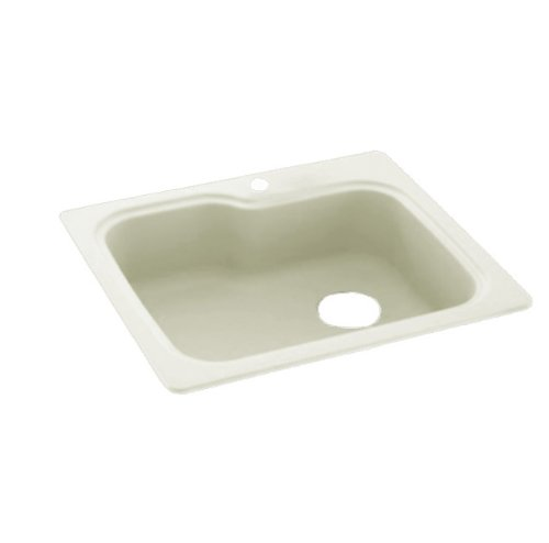 Swanstone KS03322SB.018 Solid Surface 1-Hole Drop in Single-Bowl Kitchen Sink, 33-in L X 22-in H X 10-in H, Bisque