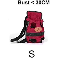 Portable Dog Carrier Travel Dog Backpack Red Breathable Pet Frount Shoulder Bag Mesh Backpack With Dual Shoulders Straps (Size S)
