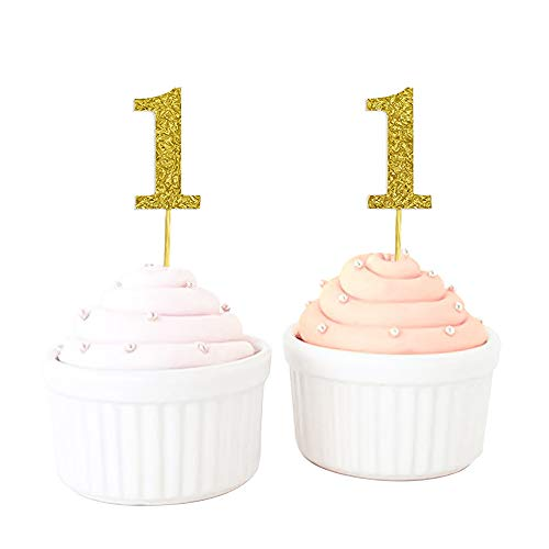 YOZATIA 50PCS Gold Glitter Number 1 Cupcake Picks, Baby First Birthday Cupcake Topper for Baby Shower, Gold Party Decor (Gold) - Assembled Finished