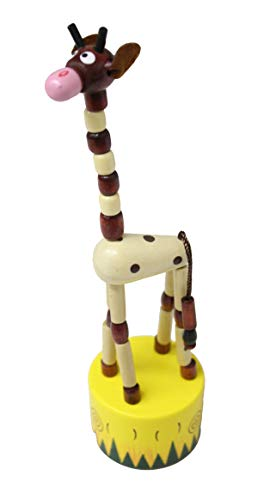 Curious Minds Busy Bags 1 Wooden Collapsing Thumb Dancing Push Puppet Animals - Wood Toy - OT (Giraffe)