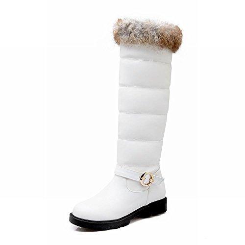 Show Shine Womens Fashion Buckle Flats Boots Tall Boots White AqluqA0XiF