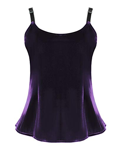 Velvet Camisole Victorian Steampunk Gothic Renaissance Gothic Women's Top (Purple, L/XL) ()