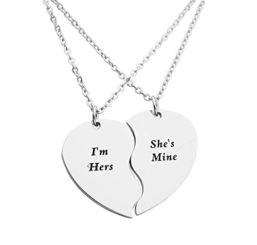 Eilygen Gay Couple Gifts Stainless Steel Heart Charm Necklace Set LGBT Necklace Gay Necklace (I m Hers Shes Mine) ()