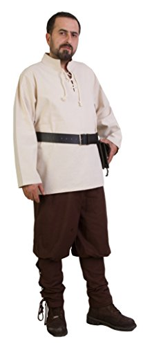 Calvina Costumes Ares Medieval Tunic Unisex – Made In Turkey, L-Natural - Royal Servant Costume