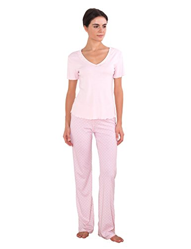 Cotton for Body Best-Seller Women's Super-Soft Cotton PJ Lace-Trim V-Neck Pajama (S, Light Pink)
