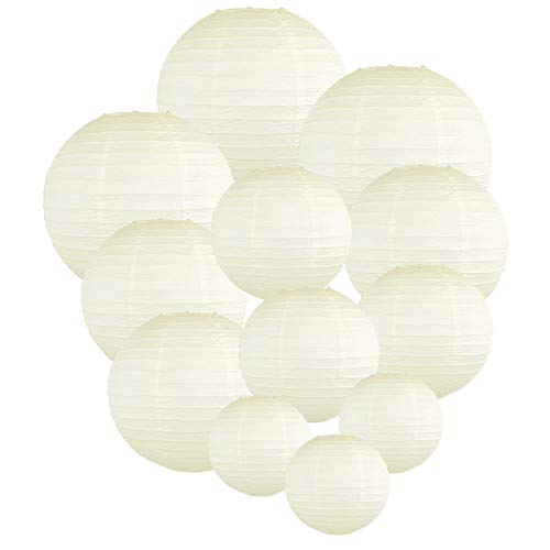 Just Artifacts Decorative Round Chinese Paper Lanterns 12pcs Assorted Sizes (Color: Ivory)]()