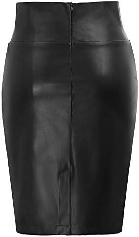 GRACE KARIN Mujer Falda de Tubo Corta Lápiz Cintura Alta Cuero de ...