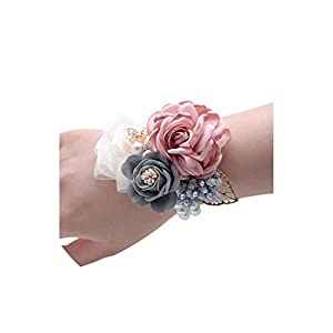 alerghrg 5 Pieces Wedding Bride Girl Floral Hand Wrist Corsage Artificial Bridesmaid Flower Bracelet Wedding Party Decoration 102