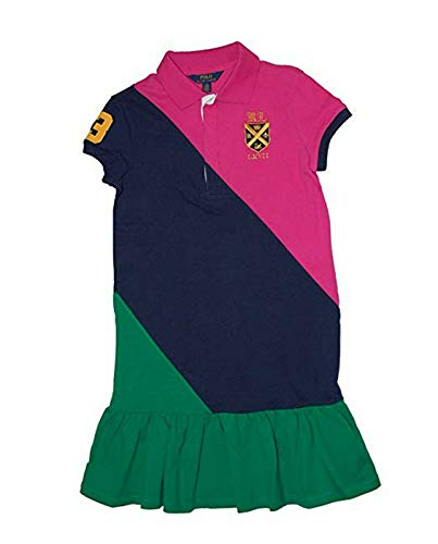 Polo Ralph Lauren Big Girls (7-16) Colorblock Mesh Polo Shirt Dress (Medium 8-10, Pink) ()