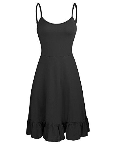 (OUGES Women's Adjustable Spaghetti Strap Sleeveless Summer Beach Slip Dress(Black,S) )