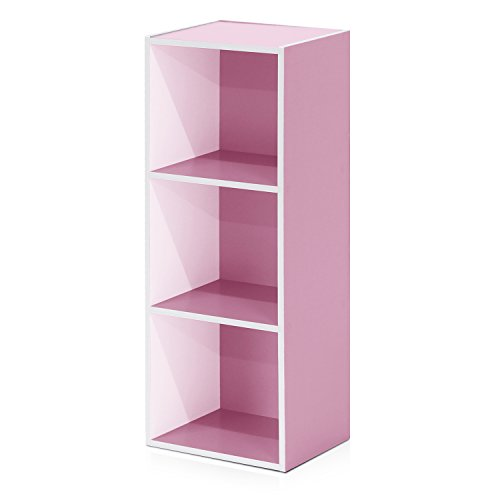 Pink Cube Case (Furinno 3-Tier Open Shelf Bookcase, White/Pink 11003WH/PI)