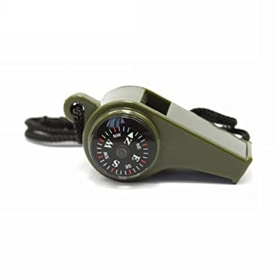 HuaYang 3in1 Emergency Gear Camping Hiking Survival SOS Whistle Compass Thermometer w/ Lanyard
