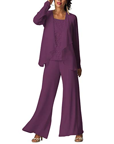 bca731afdd7 LoveeToo Women s 3 Pieces Fashion Chiffon Mother of Groom Bride Dress Pant  Suits Long Sleeves with