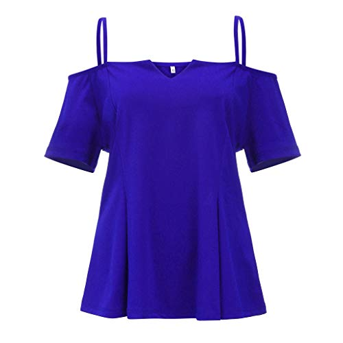 Womens Plus Size Summmer Short Sleeve Cold Shoulder Solid Camis T-Shirt Tops Perfect Winter-to-Spring (Blue, XL) by Unknown (Image #6)