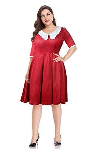Pinup Fashion Women's Half Sleeve Retro Peter Pan Collar Fit and Flare Christmas Dress Red 22W -