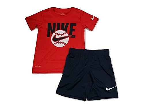 Nike Toddler Boys' Dri Fit Short Sleeve T-Shirt and Short 2 Piece Set Toddler Boys' Dri Fit Short Sleeve T-Shirt and Short 2 Piece Set (Obsidian (86E755-695)/White/Red, 5)