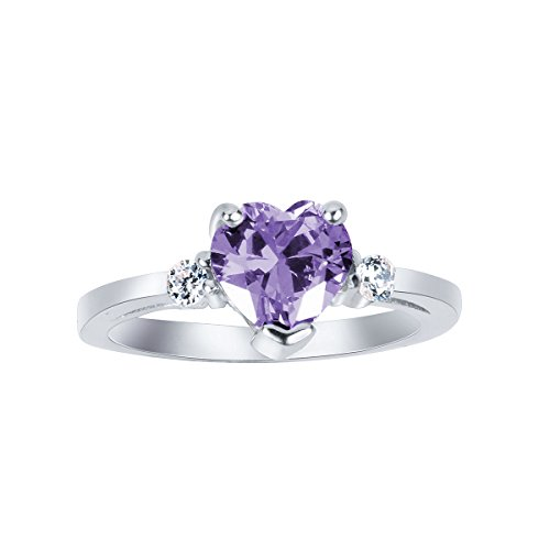 CloseoutWarehouse Lavender Cubic Zirconia Heart Ring Sterling Silver Size 10