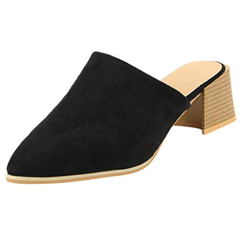 Fashion Leather Shoes Women's Pointed Toe Mid Heel Block Summer Slipper Court Shoes 5 cm Ladies Dress Work Party Pumps - Center Court Dress