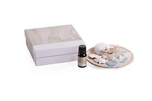 (Zodax Island Glass Shells Porcelain Dish, Aegean Mist Diffuser Oil, Multicolored)