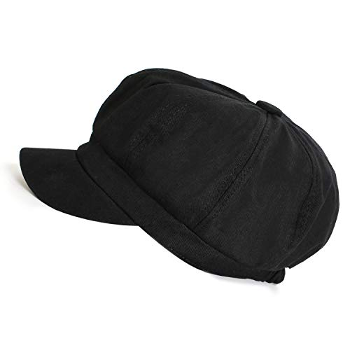 (Summer Newsboy Cap Women 100% Cotton Plain Blank 8 Panel Gatsby Apple Cabbie Cap Hat Black)