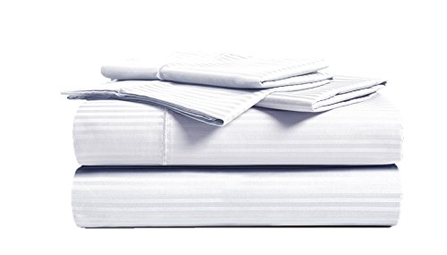 CHATEAU HOME COLLECTION 500 Thread Count Queen-White Sheets Luxury 100% Cotton Ultra Soft 4 Piece Sheet Set, Long-Staple Combed Pure Natural Cotton Bedsheets, Soft & Silky Sateen Weave,Deep Pocket