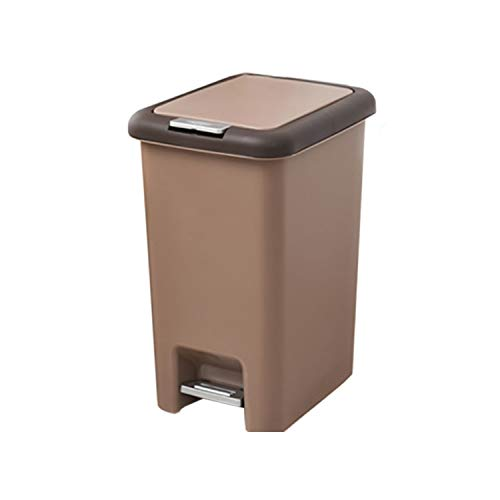 (Square Trash Can 8L/10L Pressing Cover Type Kitchen Waste Bin Sitting Room Toilet Trash Office Paper Basket Household Foot Pedal,Coffee,8L)