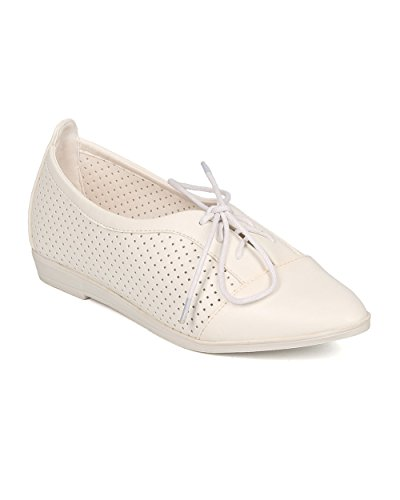 Flat GI61 Sandal by Lace Loafer Leatherette Flat Perforated Flat Alrisco Up Women Perforated White WqHZRn4w0