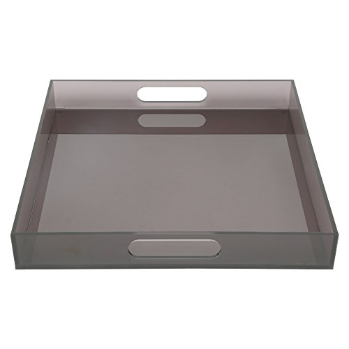 Acrylic Spill-proof square breakfast, lunch, dinner, food, tea, coffee, party serving tray & decorative display with handles – Smoke Grey