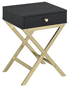 ACME Furniture Acme 82296 Coleen Side Table, black Brass