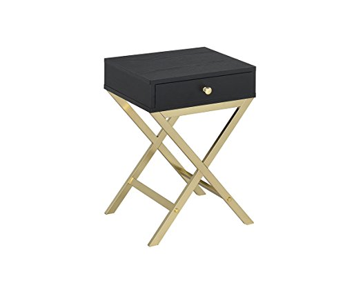 Acme Furniture Acme 82296 Coleen Side Table, Black & Brass (Table Campaign)