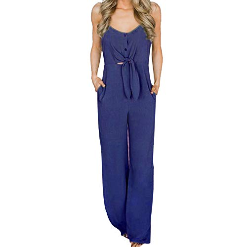 Thenxin Cami Jumpsuit for Women V-Neck Bow Knot High Waist Solid Color Long Playsuit with Pockets(Navy,L)