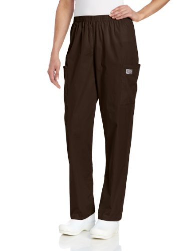 Scrub Zone Women's Durable 2-Pocket Elastic Waist Classic Fit Cargo Scrub Pant, Brown, X-Large - Pocket 2 Pants