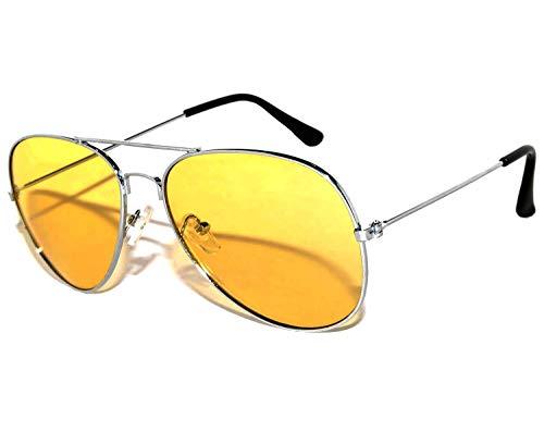 Classic Aviator Sunglasses Yellow Gradient Lens Metal Silver Frame -