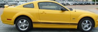 3-Stripe Rocker Panel Stripes For Mustangs & GT, Your Choice of Color