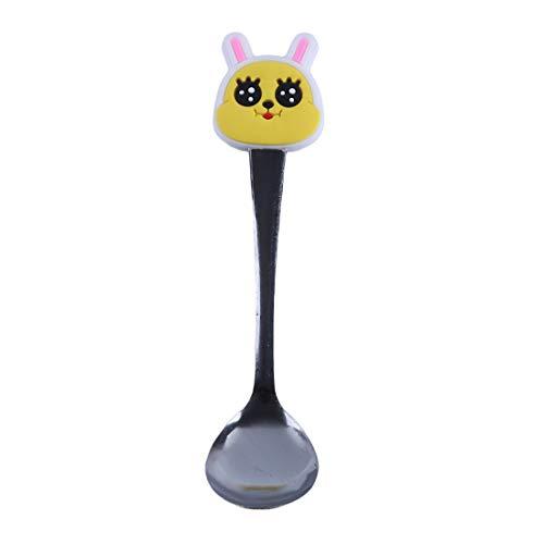 VWH Stainless Steel Coffee Tea Spoons Cartoon Animal Head Tableware Small Spoonful Dessert Spoons(rabbit)