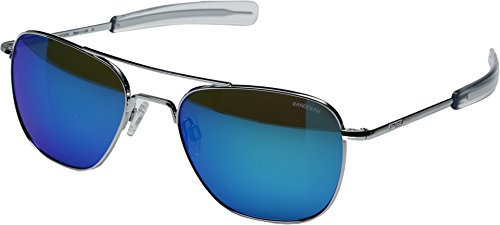 Randolph Unisex Aviator 55mm Bright Chrome/Glass Blue Flash Mirror Sunglasses
