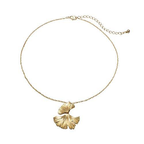 9a73964e9dc Barhalk Retro Fashion Pendant Necklace Creative Big Metal Flower Ginkgo  Leaf Alloy Neckalces Women's Jewelry for