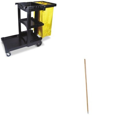 KITBWK138RCP617388BK - Value Kit - Boardwalk Metal Tip Threaded Hardwood Broom Handle (BWK138) and Rubbermaid Cleaning Cart with Zippered Yellow Vinyl Bag, Black (RCP617388BK) by Boardwalk