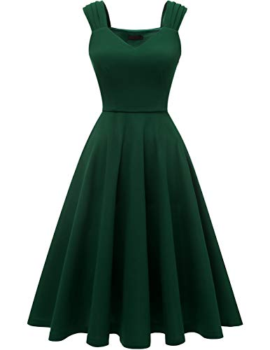 DRESSTELLS Women's Bridesmaid Vintage Tea Dress V-Neck Prom Party Swing Cocktail Dress DarkGreen XS