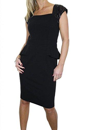 (3995-1) Waschbar völlig gezeichnet Schößchen-Kleid mit Paillettenverkleidungen schwarz